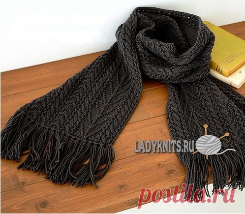 вязаный спицами красивый мужской шарф с косами вязание спицами