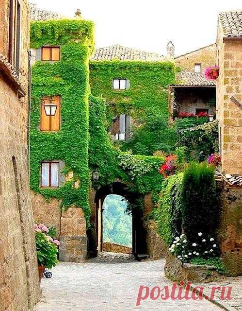 Дом покрытый зеленью. Чивита ди Баньоредж, Италия
