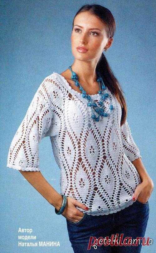 Ажурный пуловер крючком и платье одним узором. Описание, схема Очаровательный ажурный пуловер с укороченным рукавом, связанный крючком. Для начала работы необходимо сделать выкройку модели в полный размер по своим замерам, а потом приступать к вязанию по схеме.  banner_adaptivniy  А вот и платье таким же узором: