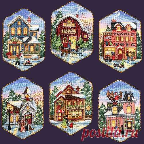 """Милые сердцу штучки: Новогодняя вышивка: """"Рождественская деревня"""" от Dimensions"""