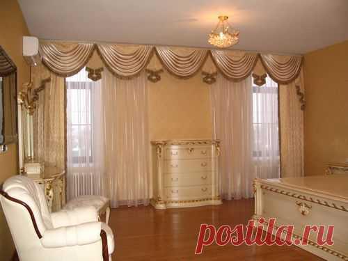 Шторы с ламбрекеном в итерьере кухни, гостиной, зала, спальни, фото