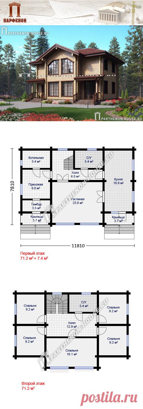 Проект двухэтажного деревянного дома из бруса ПА-142Д  Площадь общая: 142,42 кв.м. + 7,38 кв.м. Высота 1 этажа: 3,000 м. Высота 2 этажа: 2,700 м. Высота дома в коньке: 8,860 м. Объем внешних стен: 21,700 куб.м. Площадь крыши: 158,10 кв.м. Габаритные размеры дома: 11,810 х 7,810 м. Минимальные размеры участка: 18,00 x 14,00 м.  Технология и конструкция: строительство дома из бруса