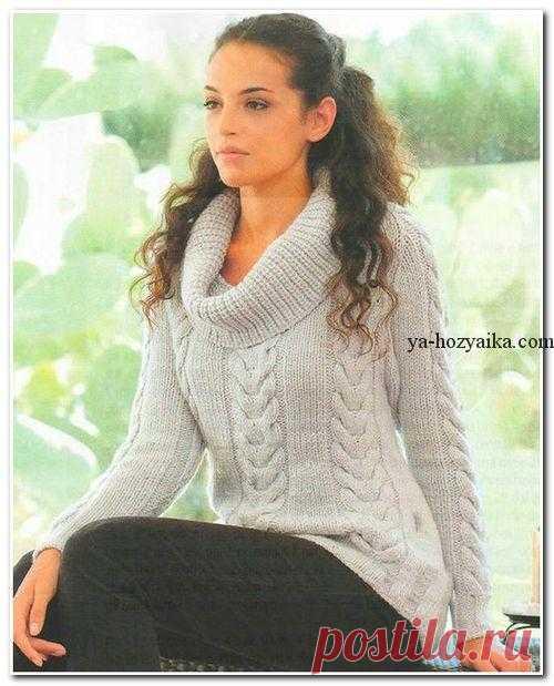 свитер с широким воротником спицами вязание спицами свитера женские