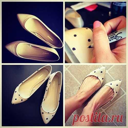 DIY :Polka dot на туфельках / Обувь / Модный сайт о стильной переделке одежды и интерьера