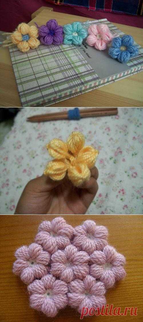 Цветок из пряжи без вязания | СВОИМИ РУКАМИ