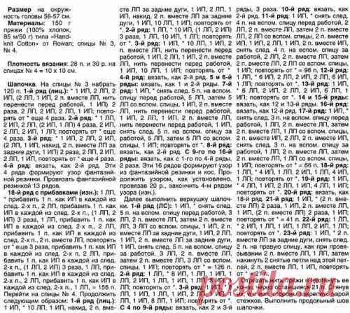 Женская шапка поперечное вязание спицами (схема)