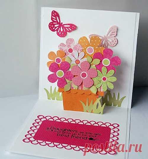 Открытка с цветами своими руками для бабушки с днем рождения