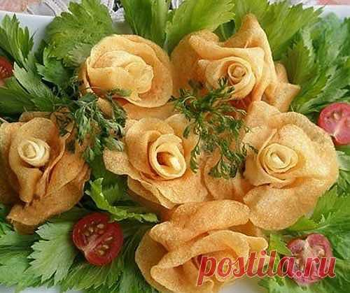 Розы из картошки