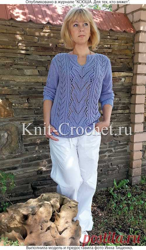 пуловер с ажурными узорами спицами пуловеры женские спицами