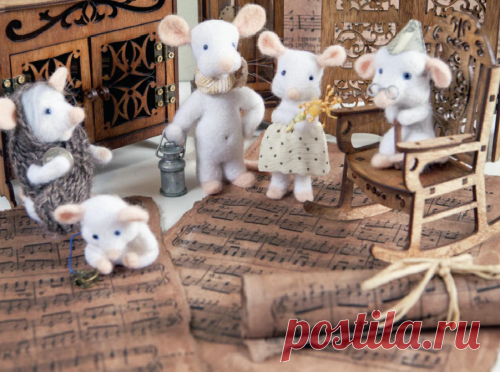 Красавица - мышка в технике сухого валяния / Валяние / В рукоделии