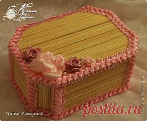 МК Шкатулка из шпажек Розовое настроение