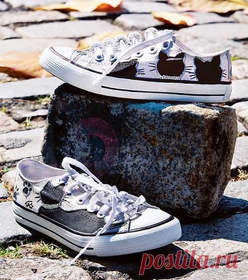 Гламурные кеды — переделываем спортивную обувь