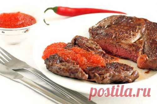 Острый густой соус к мясу. Соус кисло-сладкий и просто жгучий. Стоит его попробовать один раз и вы уже не сможете есть мясо без этого соуса.