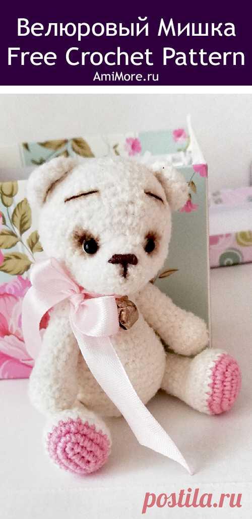 PDF Велюровый Мишка крючком. FREE crochet pattern; Аmigurumi animal patterns. Амигуруми схемы и описания на русском. Вязаные игрушки и поделки своими руками #amimore - медведь, плюшевый медвежонок, мишка из плюшевой пряжи.