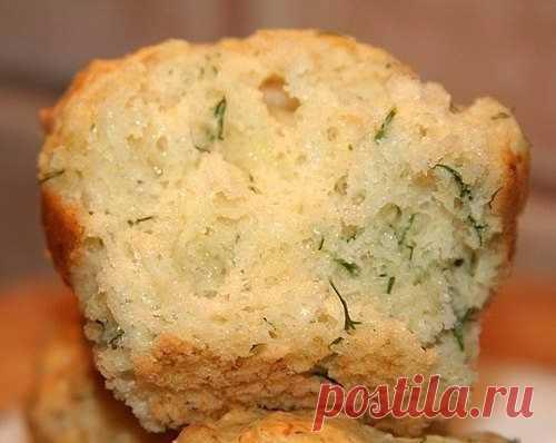 Сырные кексы на кефире с зеленью.