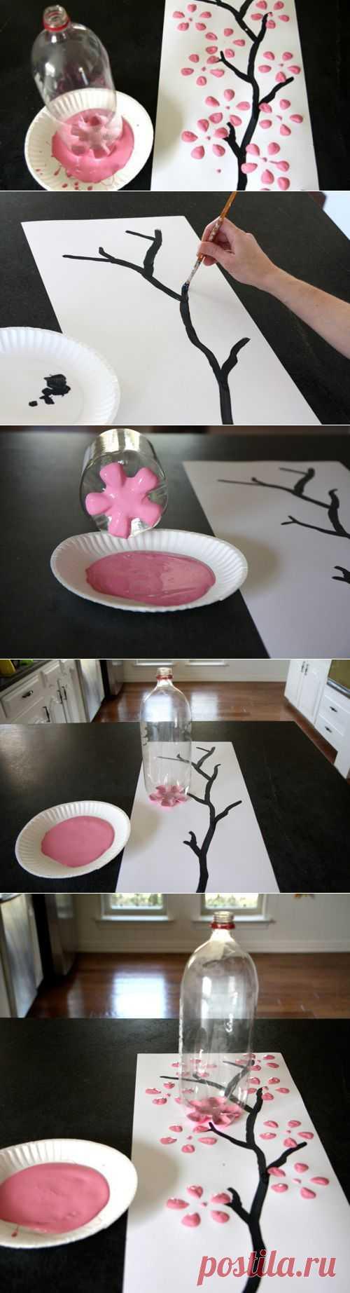 открытка с помощью бутылки роза
