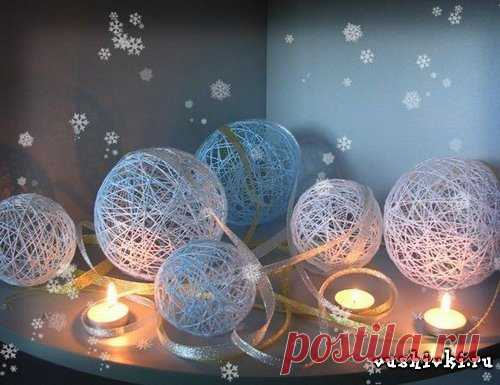 Новогодние шары из ниток. » Вышивка, бесплатные схемы вышивки крестом