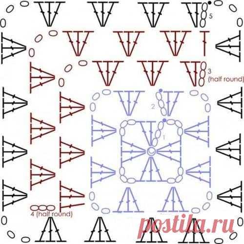 Самый простой квадратный мотив крючком | АЖУР - схемы узоров