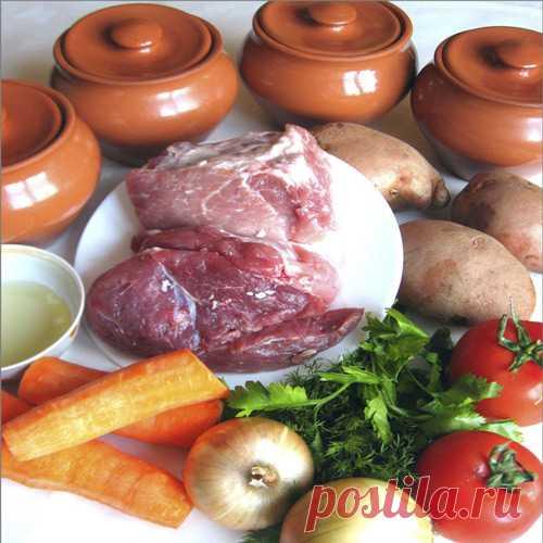 Мясо в горшочках по деревенски