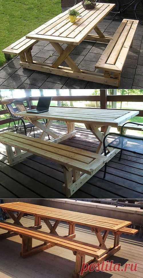 @ Как сделать деревянный стол и скамейки для дачи (с чертежами) | МОЙ МИЛЫЙ ДОМ – идеи рукоделия, вязание, декорирование интерьеров