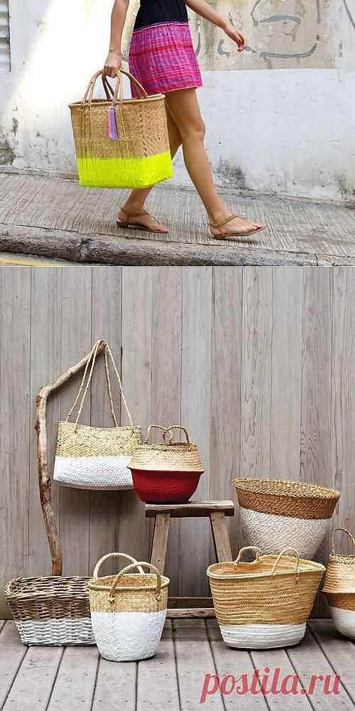 Апгрейд соломенных кошелок / Сумки, клатчи, чемоданы / Модный сайт о стильной переделке одежды и интерьера
