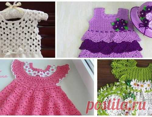 Платье для девочки. Крючок (подборка из 28 моделей) — Кладовочка идей