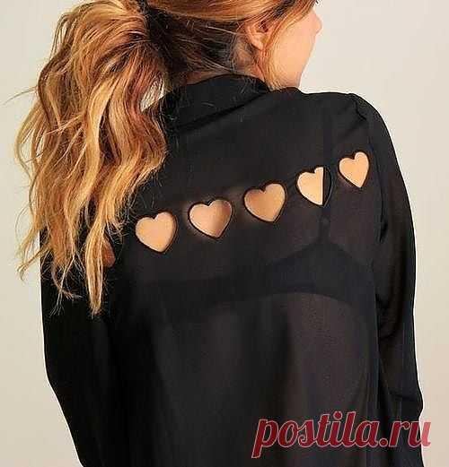 Блузка с сердцами / Блузки / Модный сайт о стильной переделке одежды и интерьера