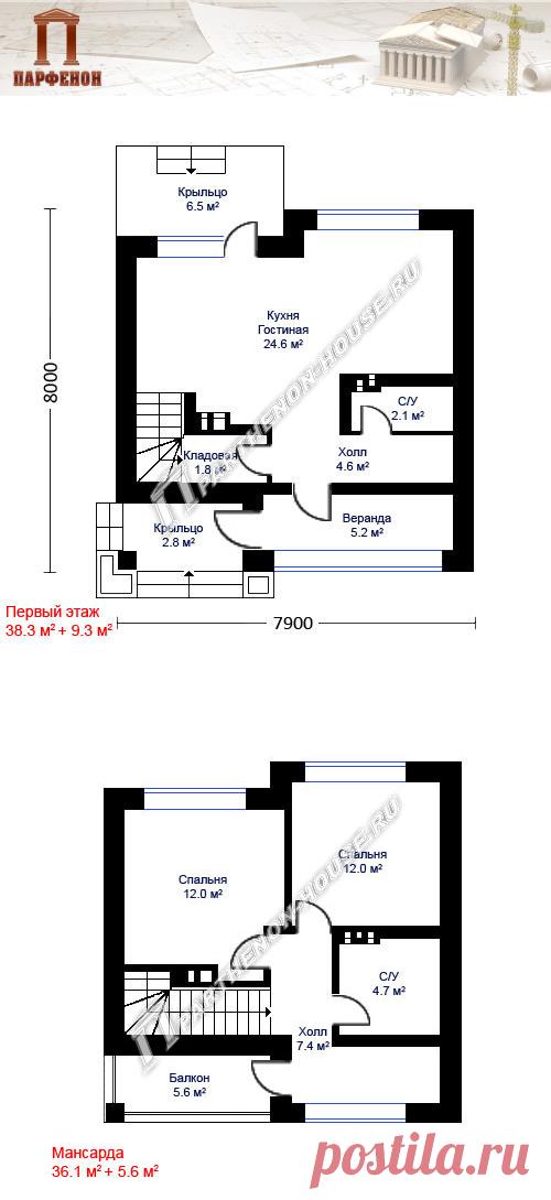 Проект небольшого дома в стиле модерн с жилой мансардой (8.0х7.9 м) ПА-72М  Площадь общая: 72,78 кв.м. + 15,68 кв.м. Площадь застройки: 71,40 кв.м. Площадь жилая: 37,24 кв.м. Строительный объем: 387,00 куб.м. Высота 1 этажа: 2,750 м. Высота в мансарде: от 1,110 м. до 3110 м. Высота дома в коньке от уровня земли: 7,780 м. Габаритные размеры дома: 7,900 х 8,000 м. Минимальные размеры участка: 14,00 x 14,00 м.  Технология и конструкция: строительство дома из блоков газобетона
