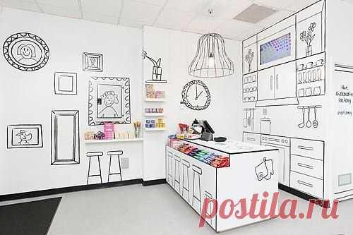 Креативный интерьер магазина / Декор стен / Модный сайт о стильной переделке одежды и интерьера