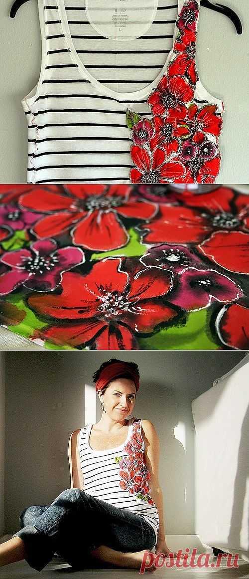Майка-тельняшка с цветами (Diy) / Тельняшки / Модный сайт о стильной переделке одежды и интерьера