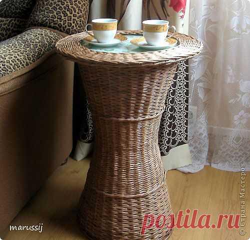 Мастер класс: Чайный столик.Плетение из газет..