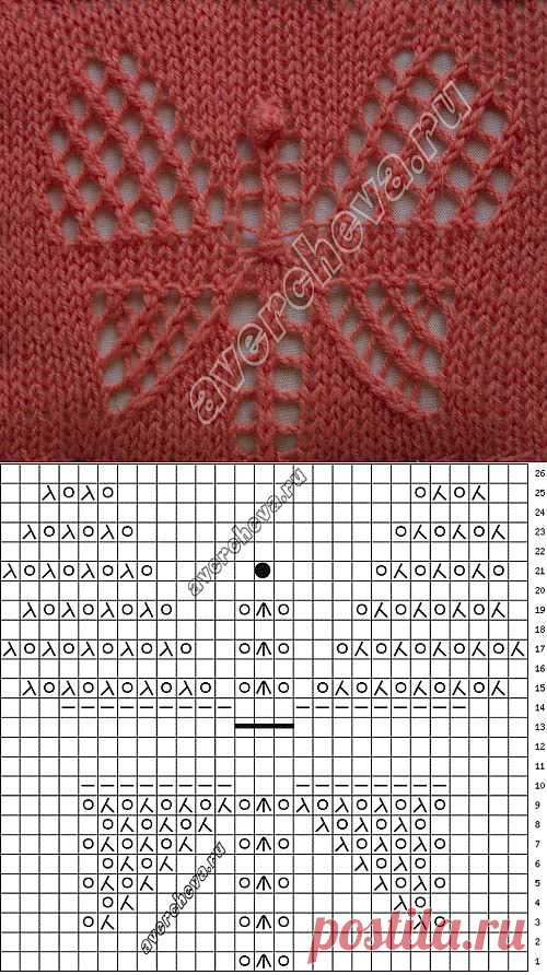 Ажурная бабочка | каталог вязаных спицами узоров