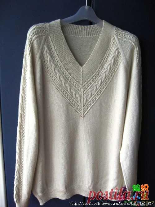 Красивое оформление проймы пуловера