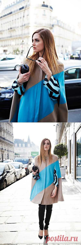 Плащ с голубой вставкой / Пальто и плащ / Модный сайт о стильной переделке одежды и интерьера
