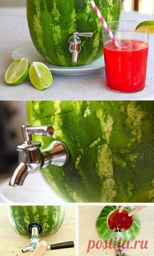 Свежевыжатый сок арбуза. А он правда существует? Все просто!