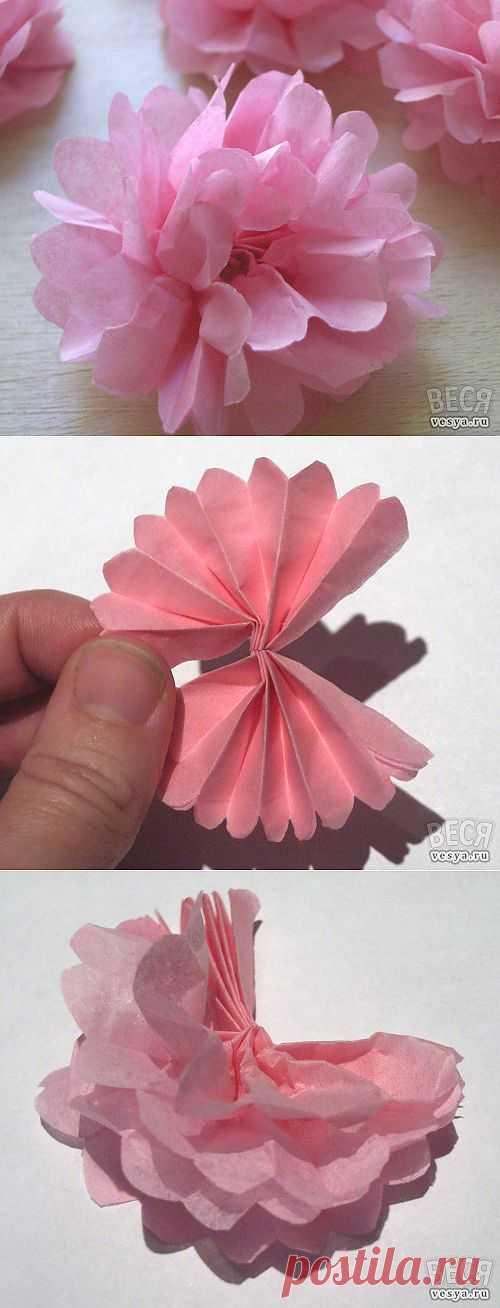 Нежные цветочки из материи. Пошаговіе фото.