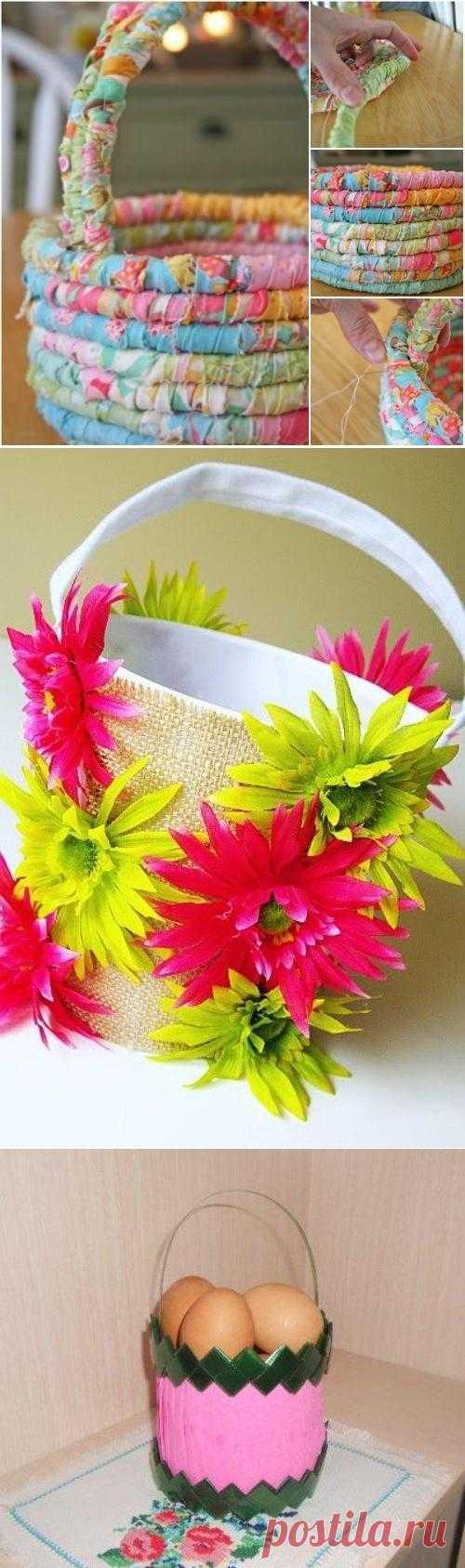 Пасхальные корзинки своими руками - из ткани, украшенные цветами или просто из пластиковой бутылки - просто, красиво и празднично.