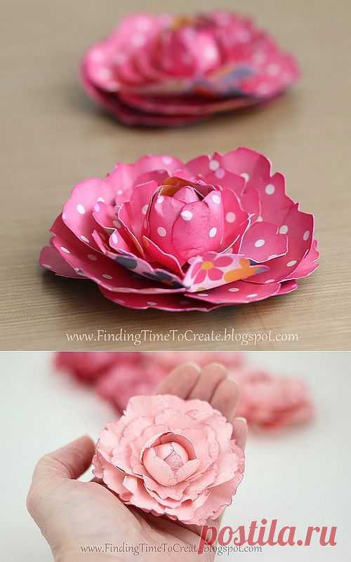 Маленький цветок пион своими руками из бумаги.