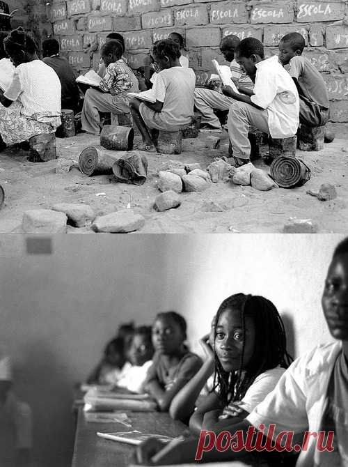 Los colegiales en Angola. Hasta de la espalda son visibles sus ojos ardientes