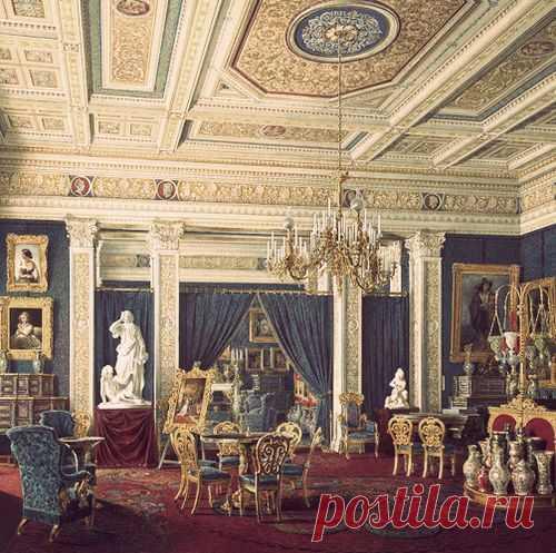 Painting of the blue drawing room in the Mariinsky Palace, St. Petersburg, by Edward Petrovich Hau   Pinterest • el catálogo Mundial de las ideas