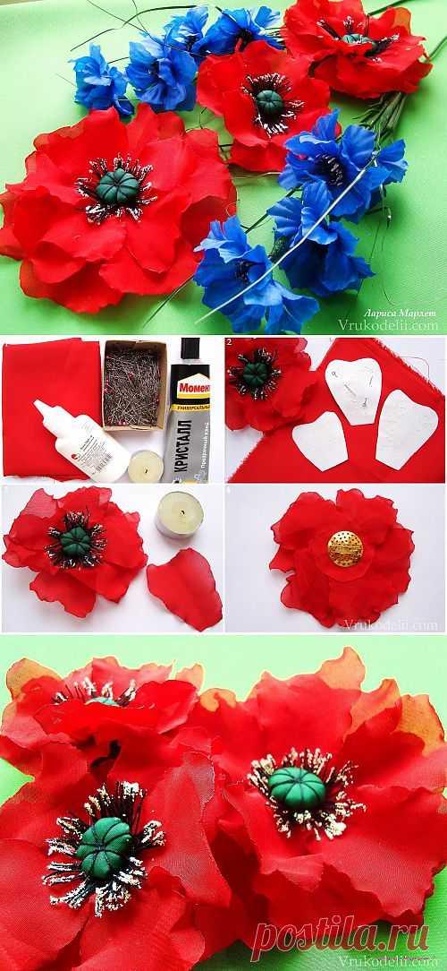 Цветки маков из шифона / Цветы из лент и ткани /