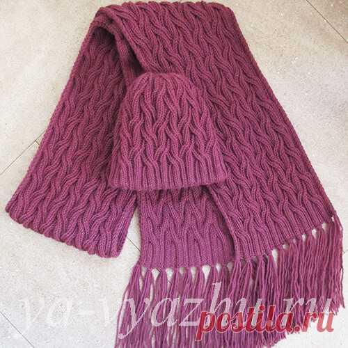Как связать женскую шапку и женский шарф спицами | Вязальное настроение...