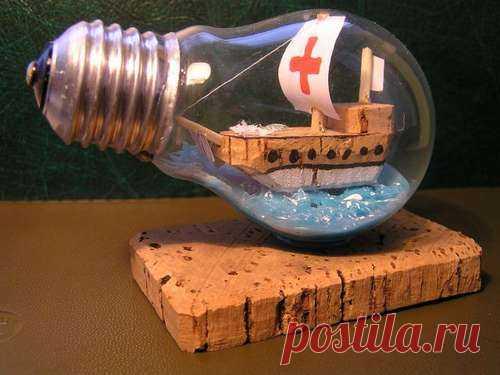 Новая жизнь старой лампочки — Сделай сам, идеи для творчества - DIY Ideas