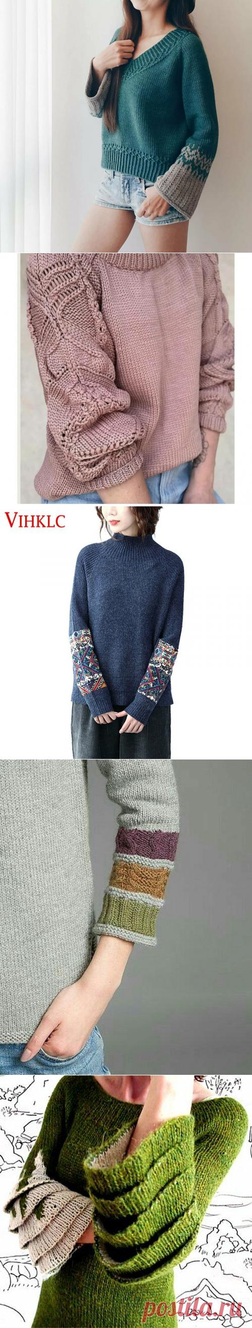 Оригинальные рукава в моделях изделий, связанных спицами. | Марусино рукоделие | Яндекс Дзен