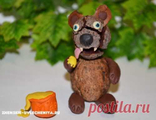 Мишка из шишек и пластилина: детская поделка в пошаговом МК