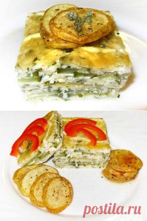 Кабачково-сырная запеканка с чесноком и мятой.