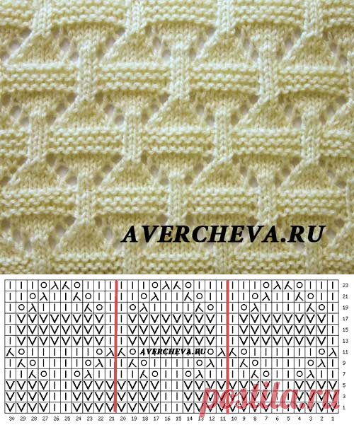 Узор спицами 955 для пледа   каталог вязаных спицами узоров