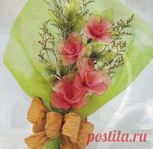Букет роз из капрона