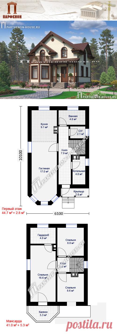 Проект небольшого в пятне застройки дома с мансардой для семьи из 4 человек ПА-85М  Площадь общая: 85,60 кв.м. + 8,30 кв.м. Площадь кровли: 99,66 кв.м. Объем кладки наружных стен: 46,80 куб.м. Высота 1 этажа: 2,840 м. Высота в мансарде: от 1,800 м. до 2,800 м. Высота дома в коньке: 8,140 м. Габаритные размеры дома: 6,100 х 10,100 м. Минимальные размеры участка: 13,00 x 17,00 м.  Технология и конструкция: строительство дома из газобетона
