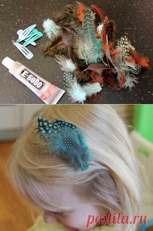 Украшение для девочки из перьев